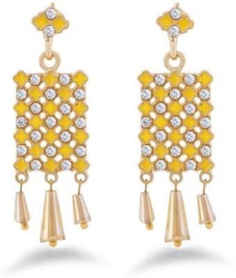 Jazz Jewellery Antique Design Yellow & White Stone Brass Earring For Women Alloy Drop Earring