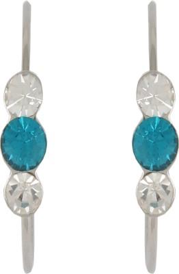Diovanni Tripple Stone Silver Blue Crystal, Alloy Hoop Earring
