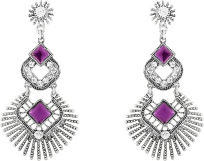 Donna Purple Curvy Square Crystal Metal Chandelier Earring