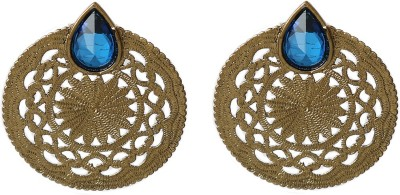Prystal Filigery Work and Droop Shapr Blue Alloy Stud Earring
