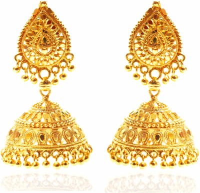 Bling N Beads Golden Designer Alloy Jhumki Earring