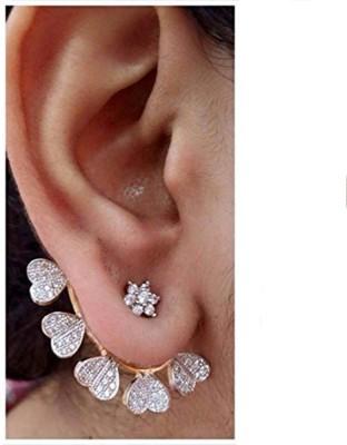 Bandish Gold toned Heart Design Cubic Zirconia Alloy Cuff Earring