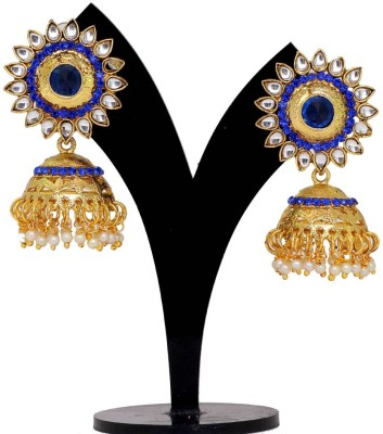 Jaipur Mart Blue Crystals Round Kundan Tops Alloy Jhumki Earring