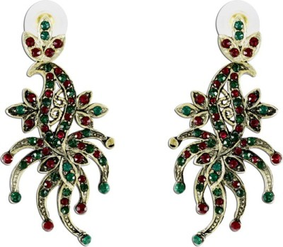The Fine World Mix Of Maroon And Green Stones Studded In A Contemporary Design Zircon Metal Drop Earring