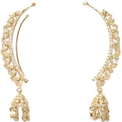 Women Trendz Rhodium Polish With CZ Brass Cuff Earring