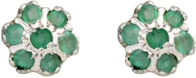 YugshaJewels Elegant YJE-1702 Emerald Sterling Silver Stud Earring