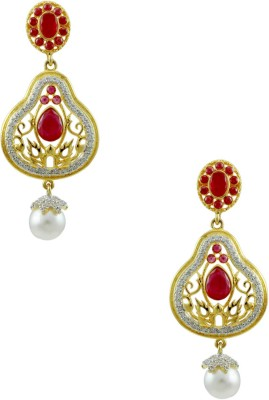 Orniza Victorian in Ruby Color with Golden Brass Chandbali Earring