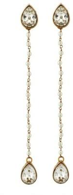 Art Nouveau Jewellery A D Stone Long Brass Drop Earring