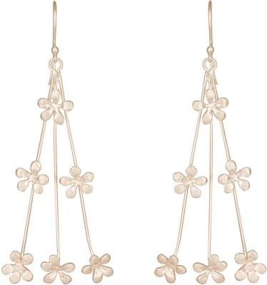 Mirror White Floral Shower Silver Drop Earring