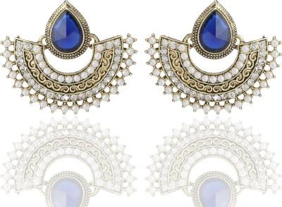 Castle Street Blue Half Moon Alloy Chandelier Earring