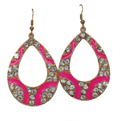 WoW Pink And White Crystal Alloy Dangle Earring