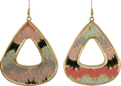 Gracent Rounded Triangle Pink, Grey, Green, Black Metal Dangle Earring