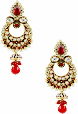 The Art Jewellery Chand Shaped Rajwadi with Brass Drop Earring