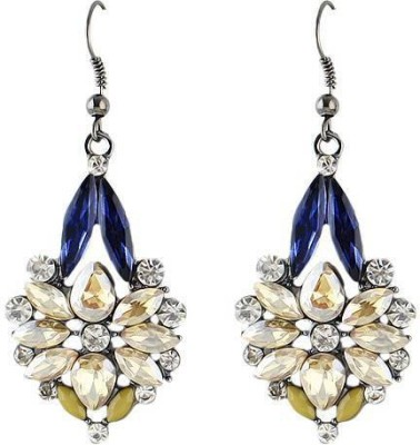 Fashionography The Crystal Flower Danglers Alloy Drop Earring