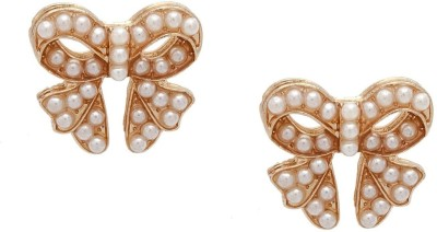 Amroha Crafts Pearl Bow Alloy Stud Earring