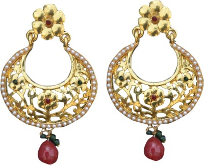 ACW Gold Plated Oval Head Chand Bali with Red Stone Embellished with Pearls, Green and Maroon Meenakari Earrings for Women Alloy Chandbali Earring
