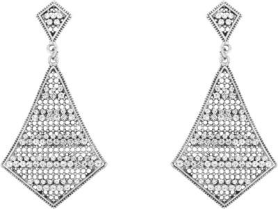 Donna White Kite Crystal Metal Drop Earring