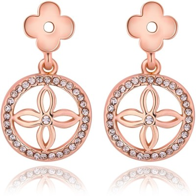 iSweven Luxury Rose Gold Filled Crystal Latest Fashion Ed2542 Zircon Alloy Drop Earring