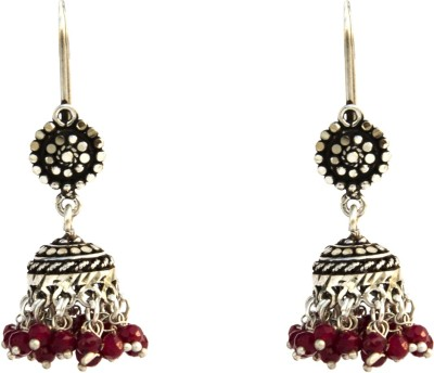 Aashirwad Red Stone Oxodise Hook Silver Jhumki Earring