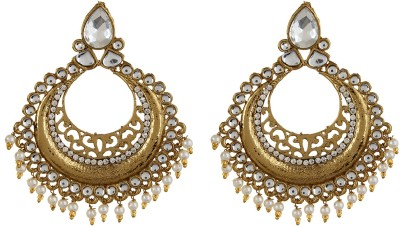 Fabula Gold & White Zircon American Diamond AD CZ Kundan & Pearl Traditional Ethnic Jewellery Jewellery Chandbali for Women, Girls & Ladies Metal Dangle Earring