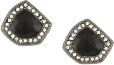 Oomph Silver & Black Crystal Fashion Jewellery for Women, Girls & Ladies Metal Stud Earring