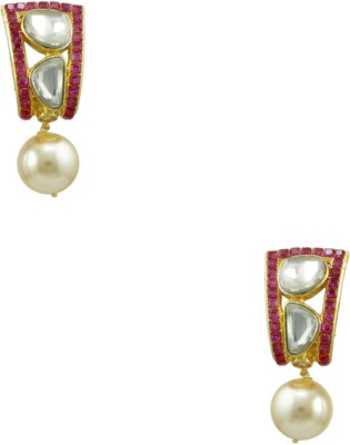 Orniza Victorian Earrings in Pink Color and Golden Polish Brass Dangle Earring