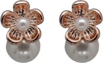 Siyora Bling White Brass Stud Earring