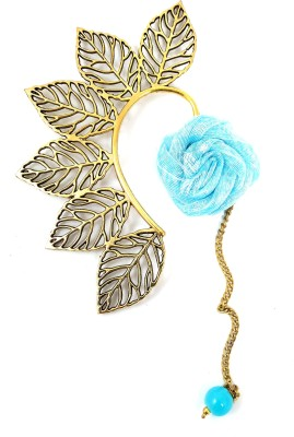Ammvi Multi Leaves With Azure Blue Rose Charm Brass Cuff Earring