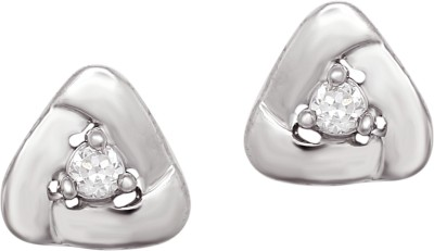 Om Jewells Triangle Cubic Zirconia Sterling Silver Stud Earring