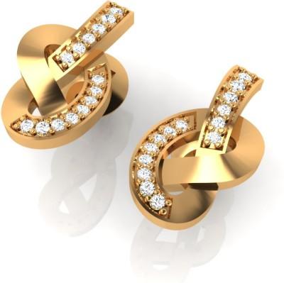 Arkina Diamonds Pretzel Drop Diamond Gold Stud Earring