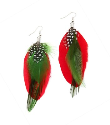 Jewel Touch Double Color Feather Alloy Dangle Earring