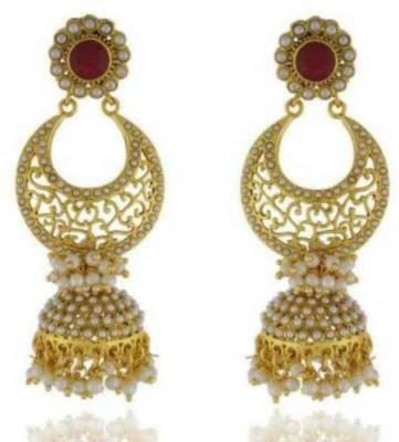 Happyshoppi Stylish Pearl Brass, Copper Jhumki Earring