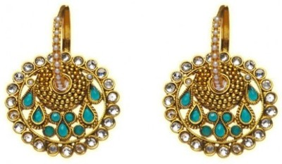 Jillcart Gold Plated Round Jhumka With Green Stones Ruby Copper Dangle Earring