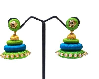 Ovis Creations 3 STEP SILK THREAD JUMKKA Silk Dori Jhumki Earring