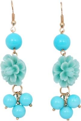 WoW Blue Resin Flower Design Resin Dangle Earring