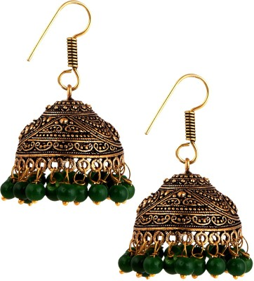 Pinnie Ethnica Antique Evergreen Oxidized Maharani German Silver Jhumki Earring
