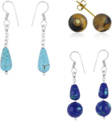 Pearlz Ocean Fashion Itch 2.5 Inches HowliteTiger Eye Gemstone Beads Studs Alloy Earring Set