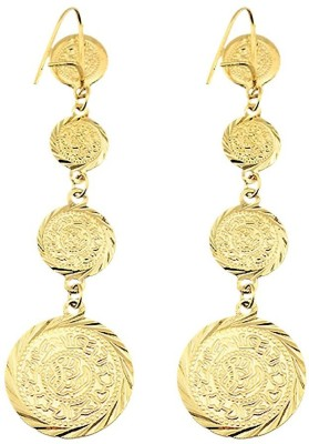 Mehrunnisa Fashion Gold Plated Coin Metal Dangle Earring