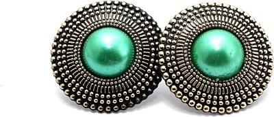 Zidox Green Coloured Bead Alloy Stud Earring