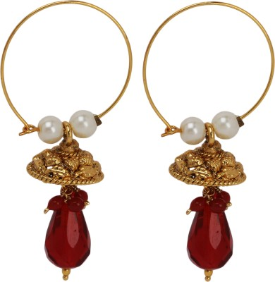 Maisha Red Crystal with Gold Circle Alloy Hoop Earring