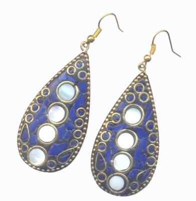 Pearls India Tear Drop Blue Metal, Lac Dangle Earring