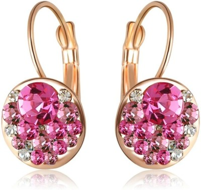 Wearyourfashion Sparkling Pink Round AAA Austrian Alloy Drop Earring