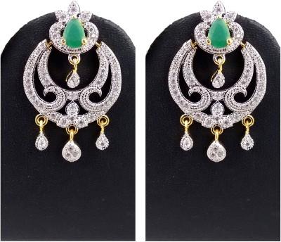Hotpiper Designer AD Zircon, Emerald Alloy Chandbali Earring