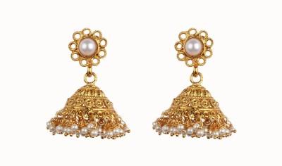 Aashvi Creation Floral Ruby Alloy Jhumki Earring