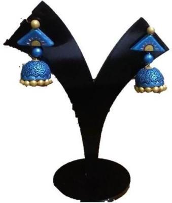 DEET umberalla blue Terracotta Jhumki Earring
