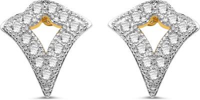 Johareez White Cubic Zirconia Rhodium Plated Brass Earrings Cubic Zirconia Brass Stud Earring
