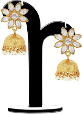 Spargz Floral With Marquise Brass Jhumki Earring