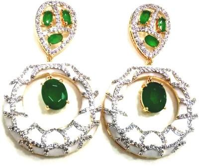 Rishabh Alarikara Green Light Zircon Brass Drop Earring