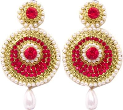 Triumphin Sparkle Red Crystal Alloy Chandbali Earring