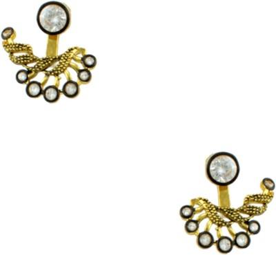 Orniza Rajwadi Latest Design Earrings in Clear Color Brass Stud Earring